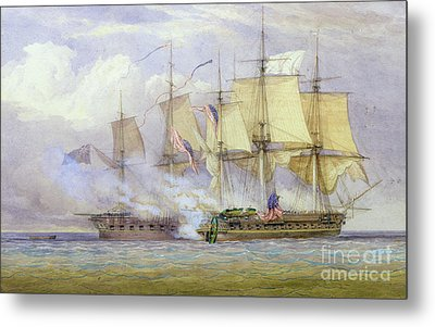 The Moment Of Victory Between Hms Shannon And The American Ship Chesapeake On 1st June 1813 Metal Print
