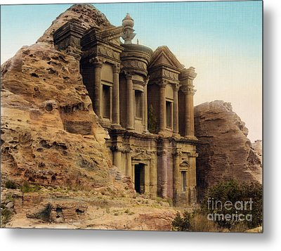 The Monastery Petra Metal Print by Celestial Images