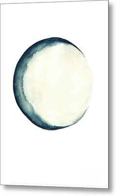 The Moon Watercolor Poster Metal Print