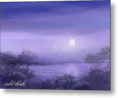 The Moon Will Set Metal Print by Leslie Rhoades