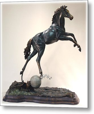 Metal Print featuring the sculpture The Moonhorse Bronze by Dawn Senior-Trask