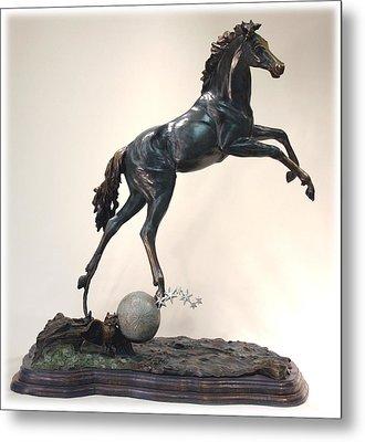 The Moonhorse Bronze Metal Print by Dawn Senior-Trask