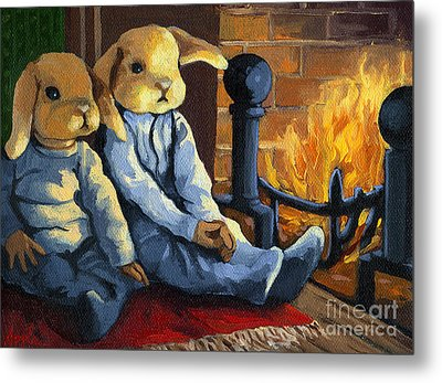 The Mopsy Twins  Metal Print by Linda Apple