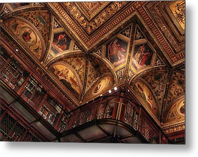 Metal Print featuring the photograph The Morgan Library Ceiling by Jessica Jenney