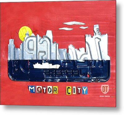 The Motor City - Detroit Michigan Skyline License Plate Art By Design Turnpike Metal Print by Design Turnpike