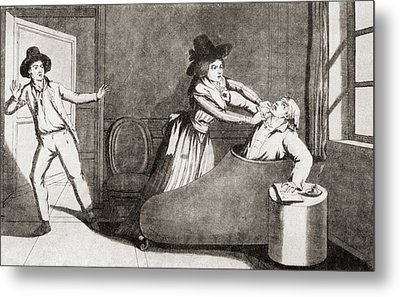 The Murder Of Marat At The Hands Metal Print