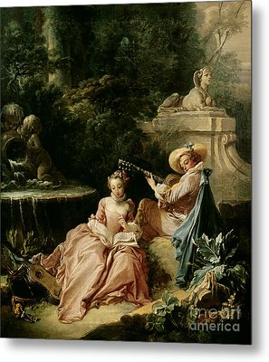 The Music Lesson Metal Print by Francois Boucher