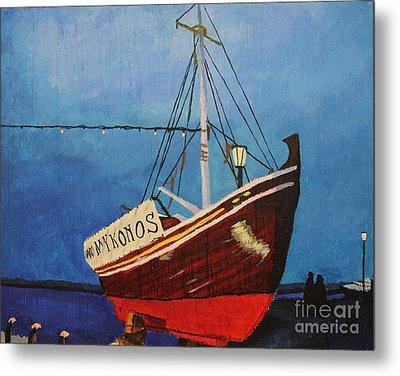 The Mykonos Boat Metal Print