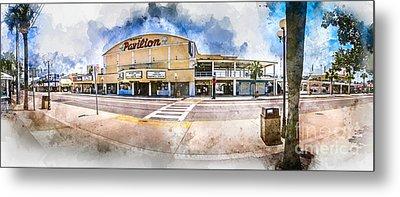 The Myrtle Beach Pavilion - Watercolor Metal Print