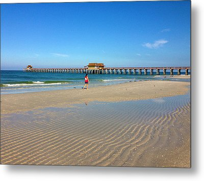 The Naples Pier At Low Tide Metal Print by Robb Stan