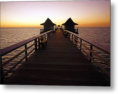 The Naples Pier At Twilight - 01 Metal Print by Robb Stan
