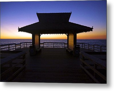 The Naples Pier At Twilight - 02 Metal Print by Robb Stan