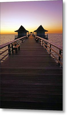 The Naples Pier At Twilight Metal Print by Robb Stan