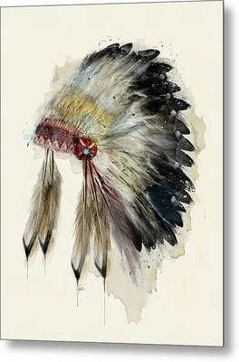 The Native Headdress Metal Print by Bri B