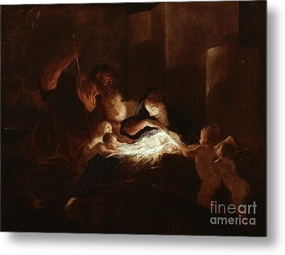 The Nativity Metal Print by Pierre Louis Cretey or Cretet