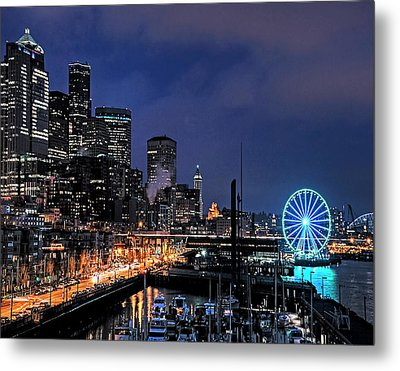 The Night Before Super Bowl Xlix, 2014, Seattle Waterfront Metal Print by Greg Sigrist