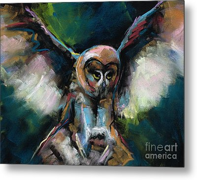 Metal Print featuring the painting The Night Owl by Frances Marino