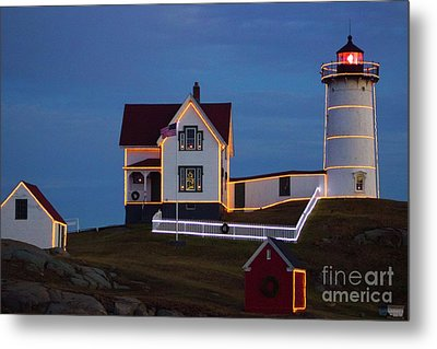 The Nubble At Christmas Metal Print by Alice Mainville