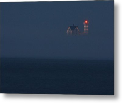 The Nubble At Night Metal Print by Lori Deiter
