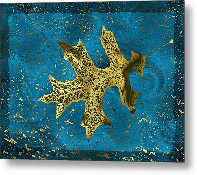 The Oak Leaf And The Wind Storm Metal Print by Tim Allen