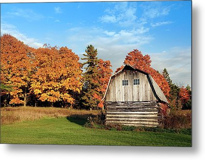 Metal Print featuring the photograph The Old Barn In Autumn by Heidi Hermes