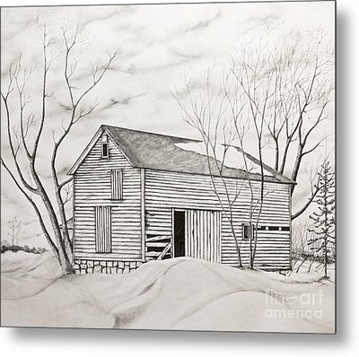 The Old Barn Inwinter Metal Print