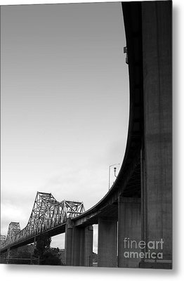 The Old Carquinez Bridge . Black And White . 7d8832 Metal Print