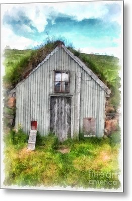 The Old Chicken Coop Iceland Turf Barn Metal Print