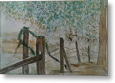 the Old fence Metal Print by Judi Goodwin