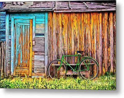 The Old Green Bicycle Metal Print by Edward Fielding