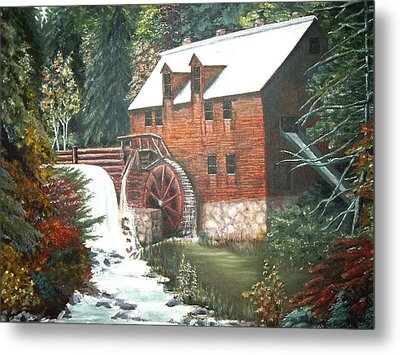 Metal Print featuring the painting The Old Mill by Diane Daigle
