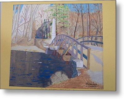 The Old North Bridge In Concord Ma Metal Print by William Demboski