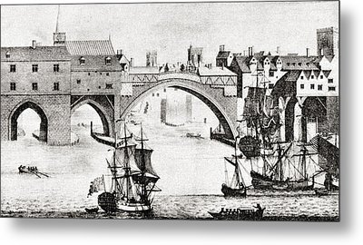 The Old Ouse Bridge, River Ouse, York Metal Print by Vintage Design Pics