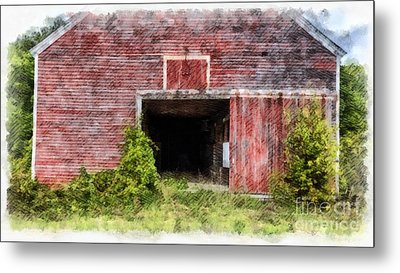 The Old Red Barn At Nutt Farm Etna Nh Metal Print by Edward Fielding