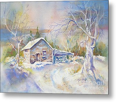 Metal Print featuring the painting The Old Shed by Mary Haley-Rocks
