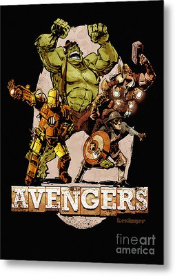 The Old Time-y Avengers Metal Print