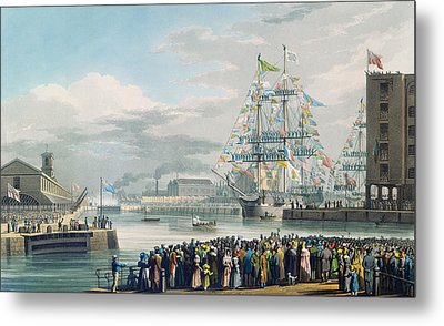 The Opening Of Saint Katharine Docks Metal Print by Edward Duncan