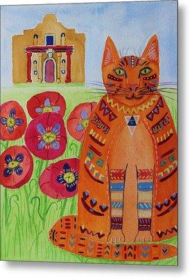 the Orange Alamo Cat Metal Print