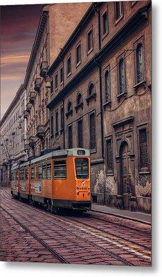 The Orange Tram Metal Print