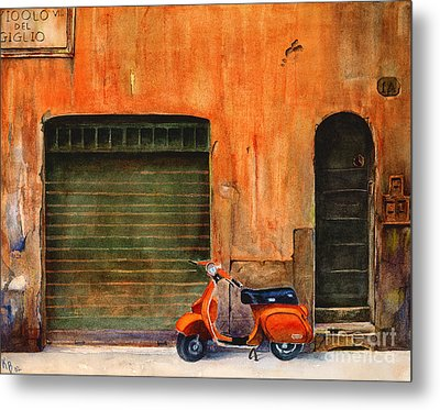 The Orange Vespa Metal Print