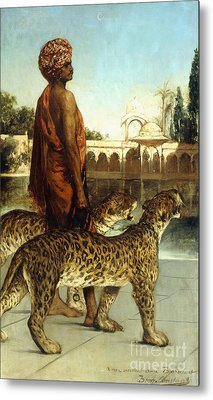 The Palace Guard With Two Leopards Metal Print by Jean Joseph Benjamin Constant