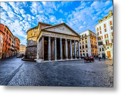 Metal Print featuring the painting The Pantheon Rome by David Dehner
