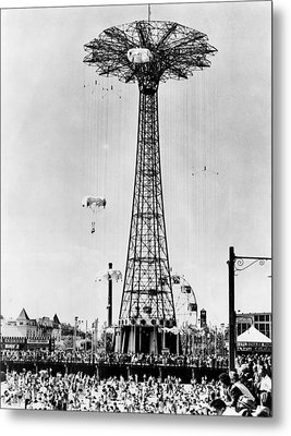 The Parachute Jump At Steeplechase Park Metal Print by Everett