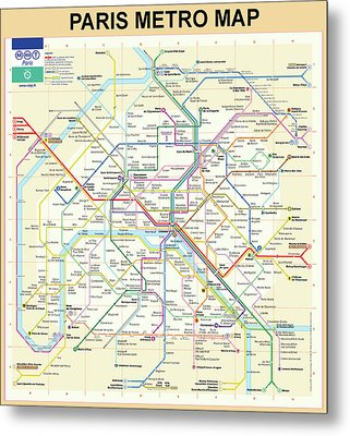 The Paris Metro Map  Metal Print by Bill Cannon