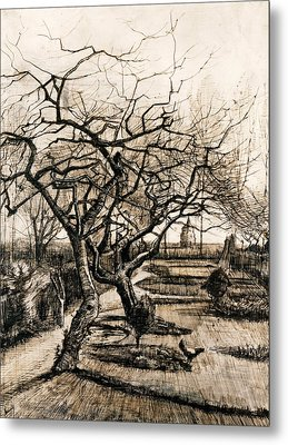 The Parsonage Garden At Nuenen In Winter Metal Print by Vincent van Gogh