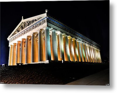 The Parthenon In Nashville Tennessee At Night 2 Metal Print