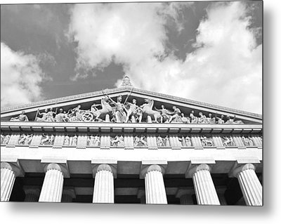 The Parthenon In Nashville Tennessee Black And White 2 Metal Print