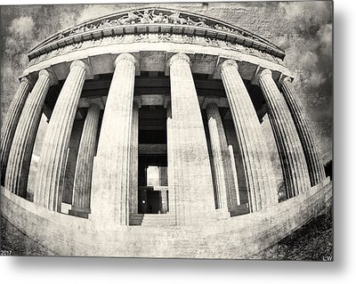 The Parthenon In Nashville Tennessee Black And White 3 Metal Print