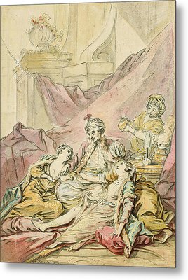 The Pasha In His Harem Metal Print by Francois Boucher