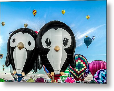 Puddles And Splash - The Penguin Hot Air Balloons Metal Print